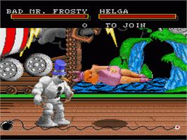 In game image of Clay Fighter on the Sega Genesis.