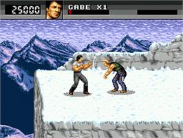 In game image of Cliffhanger on the Sega Genesis.