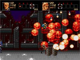 In game image of Contra Hard Corps on the Sega Genesis.