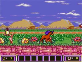 In game image of Crystal's Pony Tale on the Sega Genesis.
