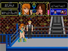 In game image of Cutie Suzuki no Ringside Angel on the Sega Genesis.