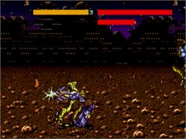 In game image of Cyborg Justice on the Sega Genesis.