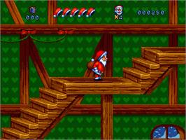 In game image of Daze Before Christmas on the Sega Genesis.