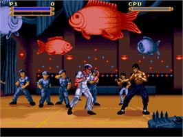 In game image of Dragon: The Bruce Lee Story on the Sega Genesis.