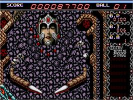 In game image of Dragon's Fury on the Sega Genesis.