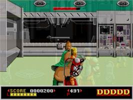In game image of Dynamite Duke on the Sega Genesis.