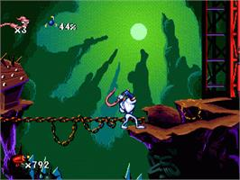 In game image of Earthworm Jim on the Sega Genesis.