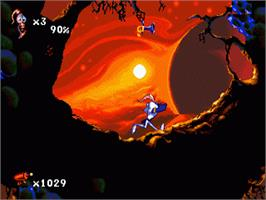In game image of Earthworm Jim 2 on the Sega Genesis.