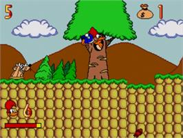 In game image of Férias Frustradas do Pica-Pau on the Sega Genesis.