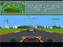 In game image of F1 on the Sega Genesis.