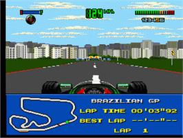 In game image of F1 World Championship Edition on the Sega Genesis.