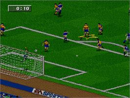 In game image of FIFA 96 on the Sega Genesis.
