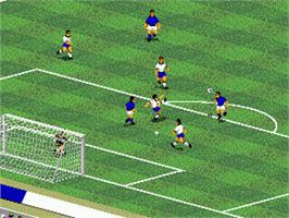 In game image of FIFA International Soccer on the Sega Genesis.