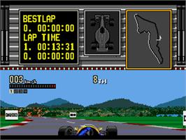 In game image of Ferrari Grand Prix Challenge on the Sega Genesis.