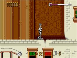 In game image of Fido Dido on the Sega Genesis.