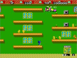 In game image of Flicky on the Sega Genesis.