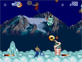 In game image of Forgotten Worlds on the Sega Genesis.