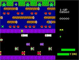 In game image of Frogger on the Sega Genesis.