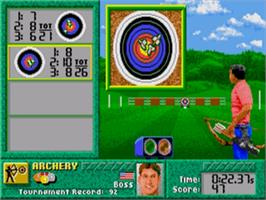 In game image of Games: Summer Challenge, The on the Sega Genesis.