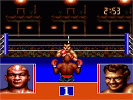 In game image of George Foreman's KO Boxing on the Sega Genesis.