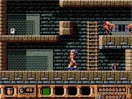 In game image of Gods on the Sega Genesis.
