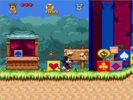 In game image of Great Circus Mystery, The - starring Mickey and Minnie Mouse on the Sega Genesis.