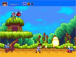 In game image of Gunstar Heroes on the Sega Genesis.
