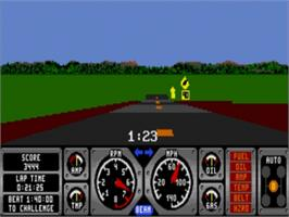 In game image of Hard Drivin' on the Sega Genesis.