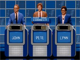 In game image of Jeopardy on the Sega Genesis.