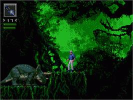 In game image of Jurassic Park on the Sega Genesis.
