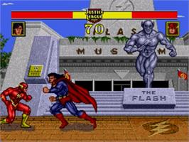 In game image of Justice League Task Force on the Sega Genesis.