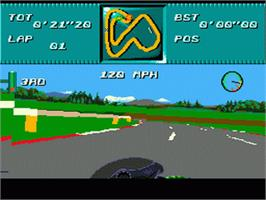 In game image of Kawasaki Superbike Challenge on the Sega Genesis.