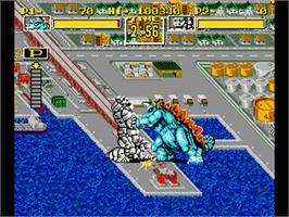 In game image of King of the Monsters on the Sega Genesis.