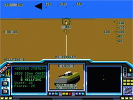 In game image of LHX: Attack Chopper on the Sega Genesis.