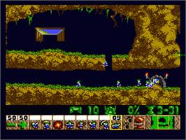 In game image of Lemmings on the Sega Genesis.