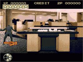 In game image of Lethal Enforcers on the Sega Genesis.