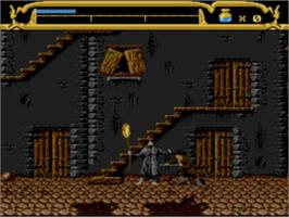 In game image of Mary Shelley's Frankenstein on the Sega Genesis.
