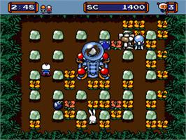 In game image of Mega Bomberman on the Sega Genesis.