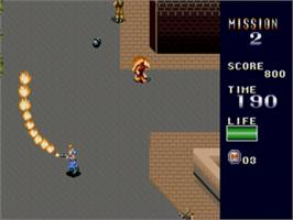 In game image of Mercs on the Sega Genesis.