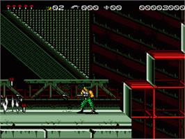 In game image of Midnight Resistance on the Sega Genesis.