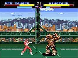 In game image of Mighty Morphin Power Rangers on the Sega Genesis.