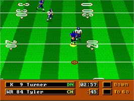 In game image of Mike Ditka Power Football on the Sega Genesis.