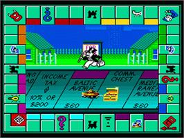 In game image of Monopoly on the Sega Genesis.