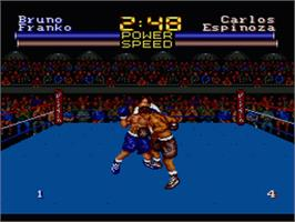 In game image of Muhammad Ali Heavyweight Boxing on the Sega Genesis.