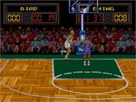 In game image of NBA All-Star Challenge on the Sega Genesis.