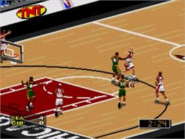 In game image of NBA Live '97 on the Sega Genesis.