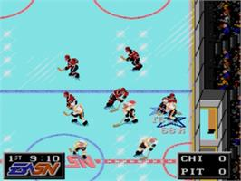 In game image of NHLPA Hockey '93 on the Sega Genesis.
