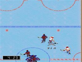 In game image of NHL '97 on the Sega Genesis.