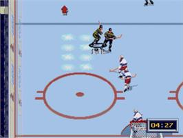 In game image of NHL All-Star Hockey '95 on the Sega Genesis.