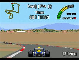 In game image of Nigel Mansell's World Championship on the Sega Genesis.
